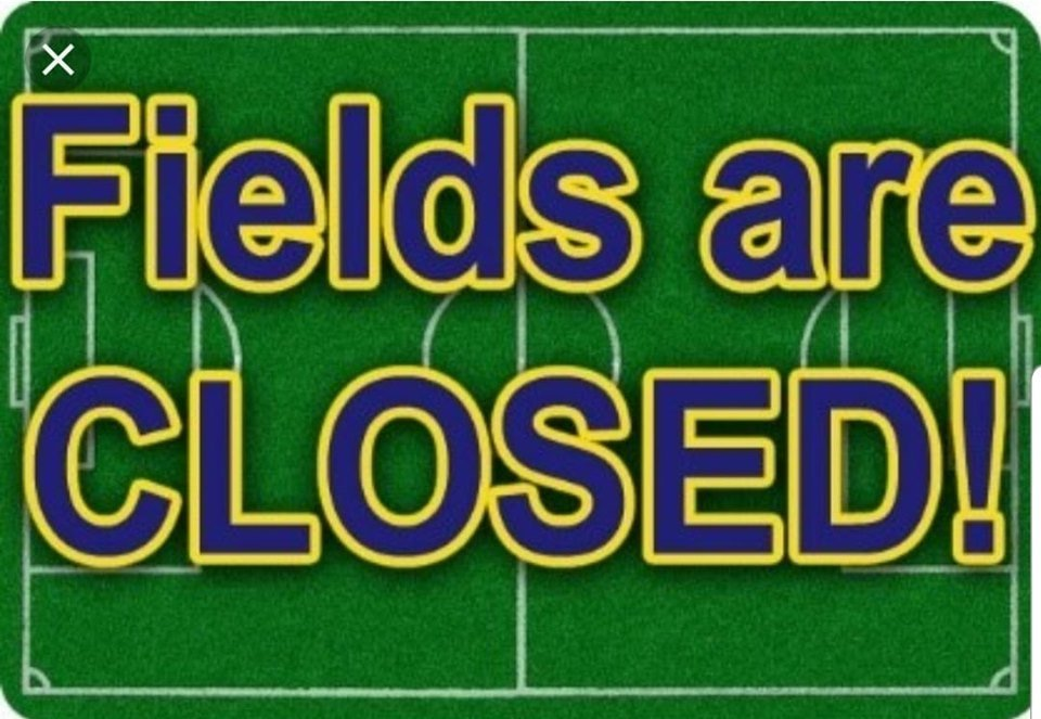 Due to the wet weather fields are closed for training tonight