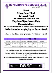 Congratulations to all the Doylo teams that made finals & to the teams that are playing this weekend!!  Let's get down there in purple & cheer them on!!!
